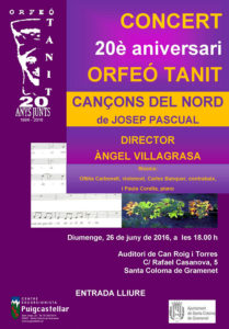 Cartell Concert Cançons del Nord 2016.06.26